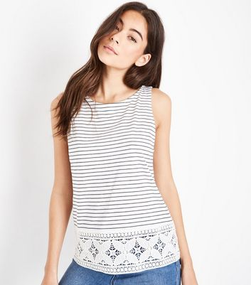 White Stripe Floral Lace Sleeveless Top