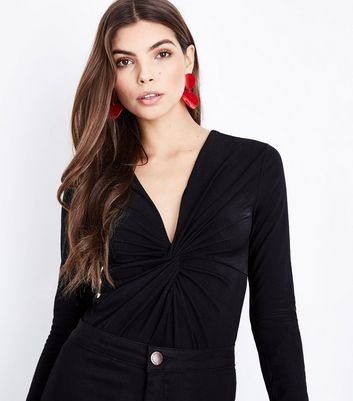 Black Twist Front Long Sleeve Bodysuit