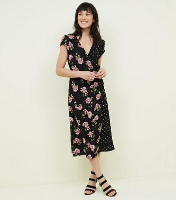 Floral Print Wrap Dress With Frill Shoulder - Black Parisian