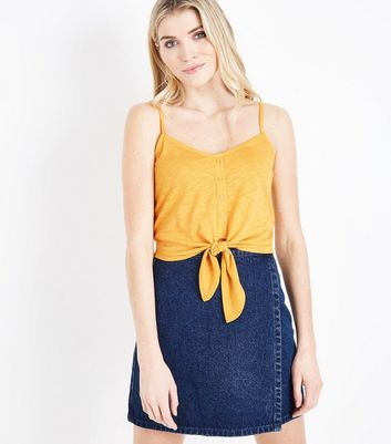Yellow Button Tie Front Cami Top