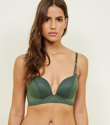 Khaki Lace Strappy Longline Push-Up Bra