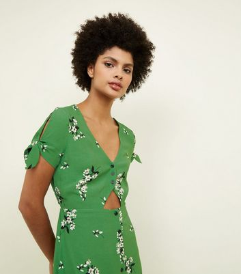 Green Floral Button Up Cut Out Midi Dress