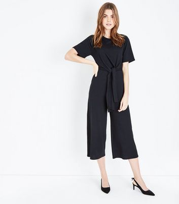 Black Ribbed Tie Front Jumpsuit