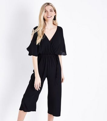 Black Wrap Front Cold Shoulder Jumpsuit