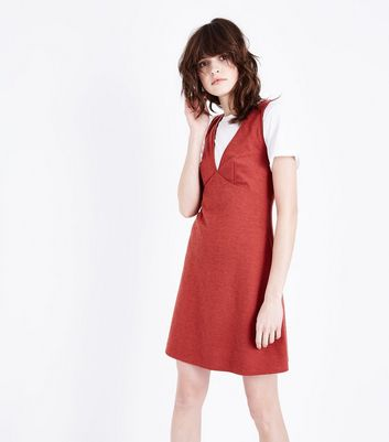 Red Cross Hatch V Neck Pinafore Dress
