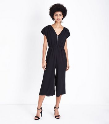 Black Zip Front Culotte Jumpsuit
