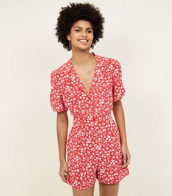 Red Ditsy Floral Button Front Playsuit