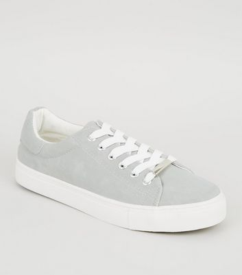 Grey Canvas Lace Up Trainers