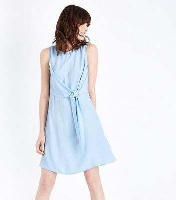 Pale Blue Tie Front Mini Dress