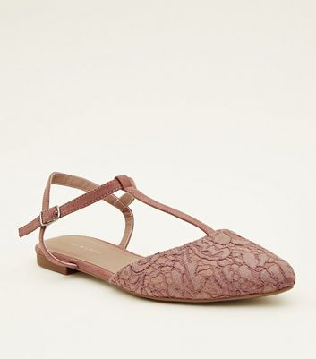 Pink Floral Lace T Bar Flats by New Look