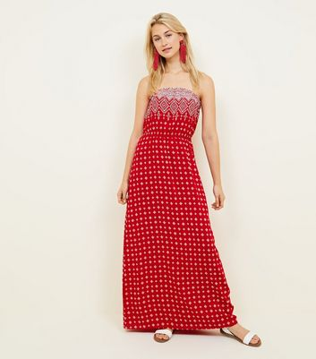 Red Tile Border Print Bandeau Maxi Dress