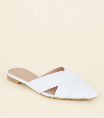 White Leather-Look Cut Out Cross Strap Mules