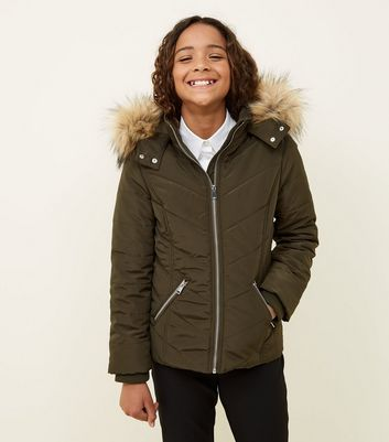 Girls Khaki Faux Fur Trim Hooded Parka
