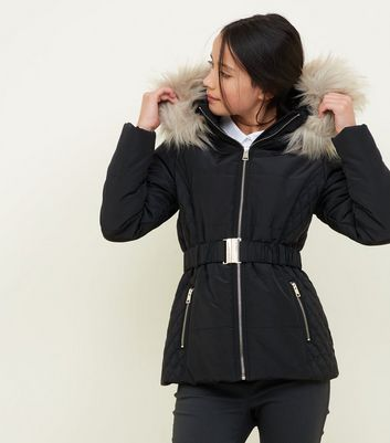 Girls Black Faux Fur Trim Hood Belted Puffer Jacket