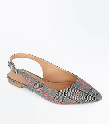 Black Canvas Check Pointed Slingbacks