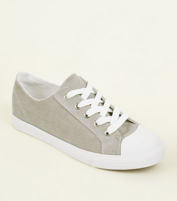Grey Corduroy Lace Up Trainers