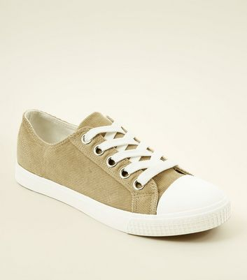 Mink Corduroy Lace Up Trainers