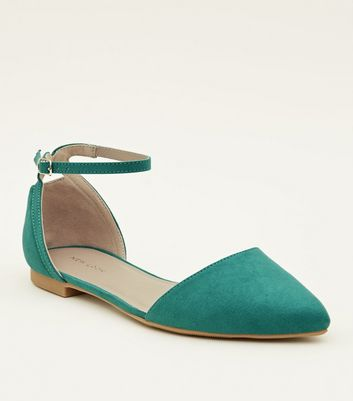 Green Suedette Cut Out Back Pointed Flats
