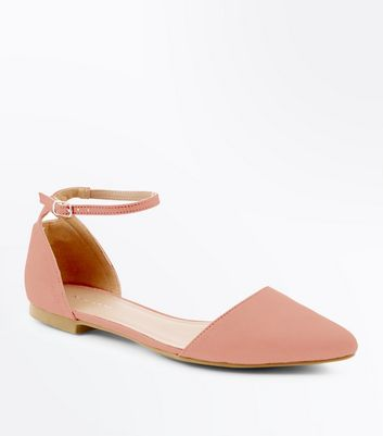 Coral Suedette Cut Out Back Pointed Flats