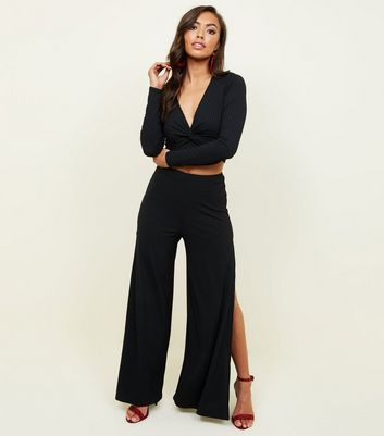 Black Ribbed Flared Split Side Party Trousers