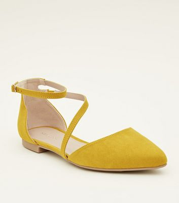 Yellow Suedette Asymmetric Strap Pointed Pumps