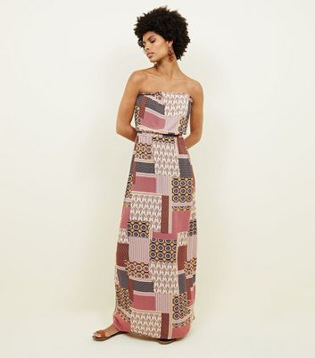 Brown Tile Print Bandeau Maxi Dress