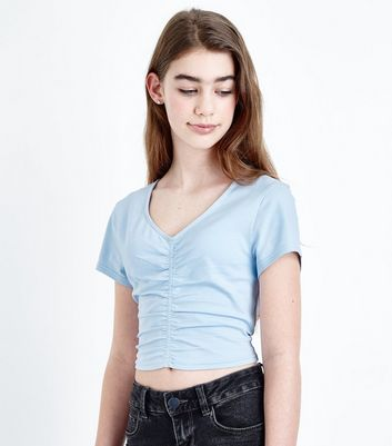 Teens Pale Blue Ruched Front T-Shirt