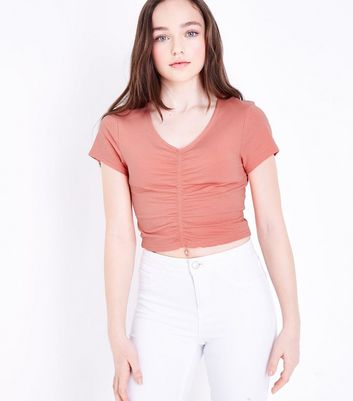 Teens Coral Ruched Front T-Shirt