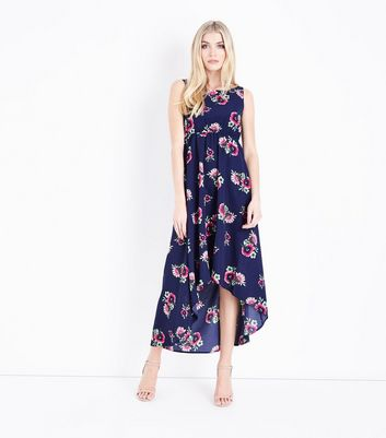 QED Navy Floral Dip Hem Maxi Dress