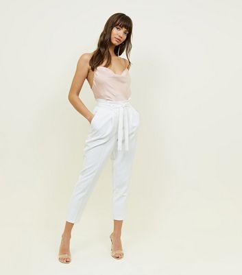 White Paperbag Waist Tapered Trousers by New Look