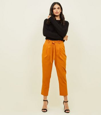 Bright Orange Paperbag Waist Tapered Trousers by New Look
