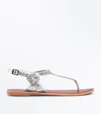 Silver Leather Beaded Twist Side Flat Sandals