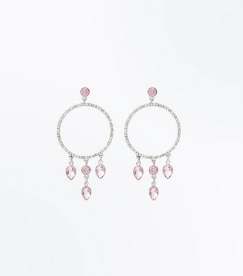 Pink Teardrop Crystal Diamanté Hoop Earrings