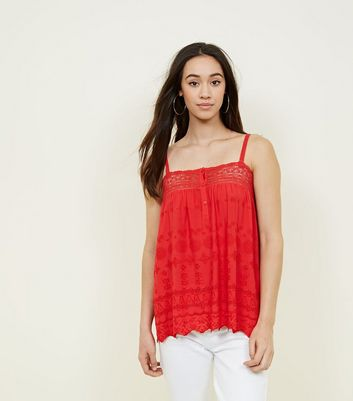 Red Broderie Lace Trim Cami