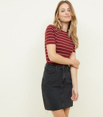 Tall Black Ripped Hem Denim Skirt