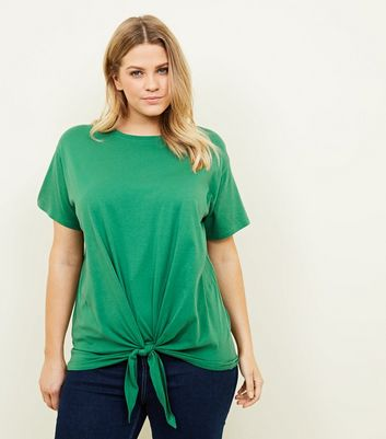 Curves Green Tie Front T-Shirt