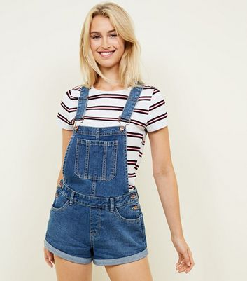 Blue Denim Short Boyfriend Dungarees
