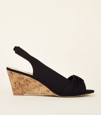 Black Comfort Canvas Slingback Cork Wedges