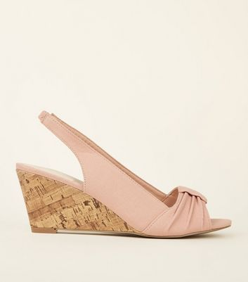 Nude Comfort Canvas Slingback Cork Wedges