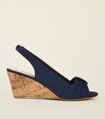 Navy Comfort Canvas Slingback Cork Wedges