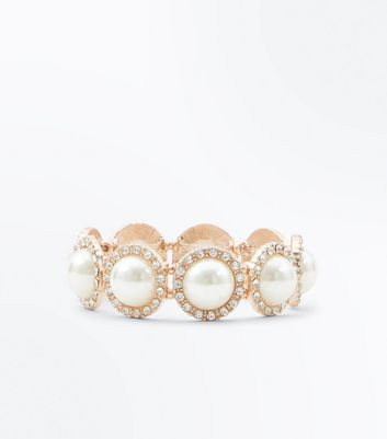 Cream Pearl Diamanté Stretch Bracelet