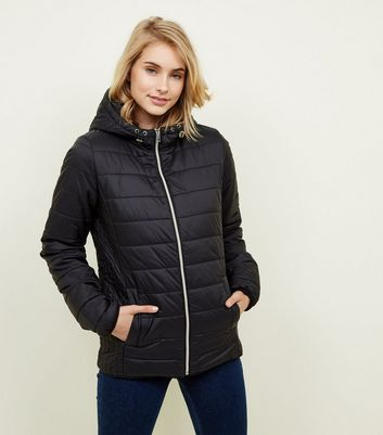 Tall Black Hooded Puffer Jacket