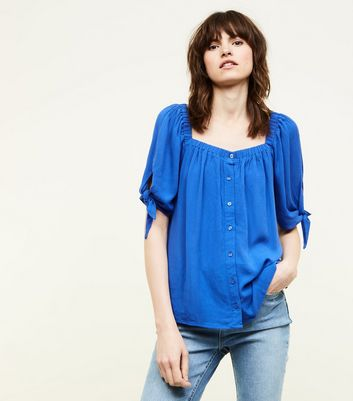 Blue Square Neck Button Front Blouse
