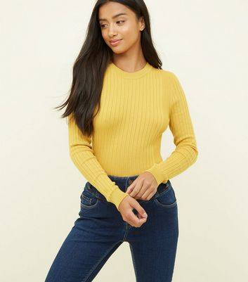 Petite Mustard Crew Neck Ribbed Top