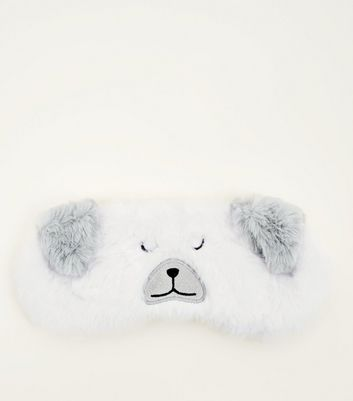 Cream Bear Eye Mask by New Look