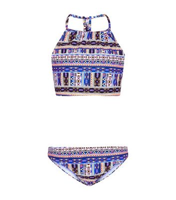 Teens Blue Aztec Print High Neck Bikini