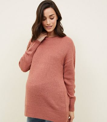 Maternity Mid Pink Knitted Jumper