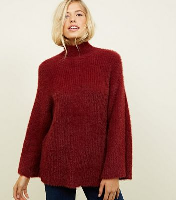 Plum Fluffy Wide Sleeve Jumper