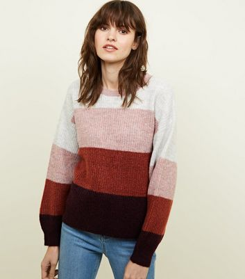Pink Colour Block Knitted Jumper