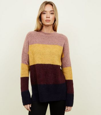 Multi Colour Block Extra Long Sleeve Jumper